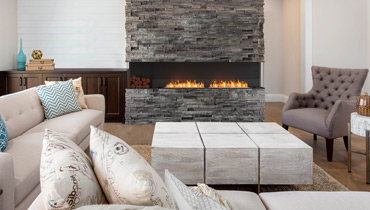 EcoSmart Fire Flex Fireplace 104BY, long fire wall installation
