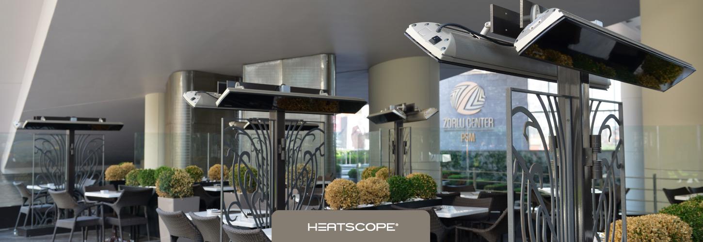 HEATSCOPE Ambiente-Heizstrahler VISION fuer die Premium-Gastronomie fast ohne Licht