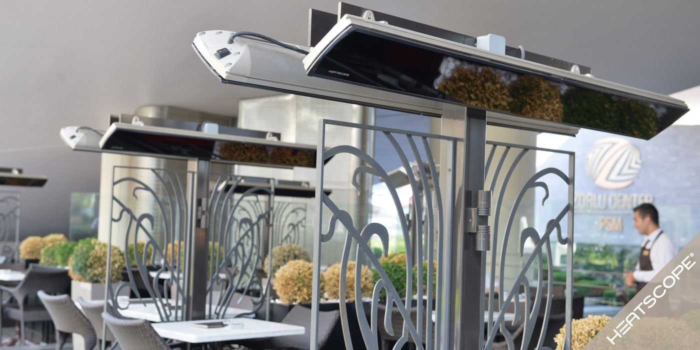 HEATSCOPE: Ambiente-Design-Infrarot-Heizstrahler VISION mit weniger Licht und mehr Waerme fuer Privat, Gastronomie, Restaurant, Cafe, Hotel