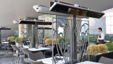 HEATSCOPE: Ambiente-Design-Infrarot-Heizstrahler VISION mit SCHOTT Nextrema Glas-Front fuer Privat, Gastronomie, Restaurant, Cafe, Hotel - Uebersicht