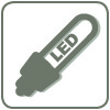 long-life, energy-saving LED light sources, halogen optional