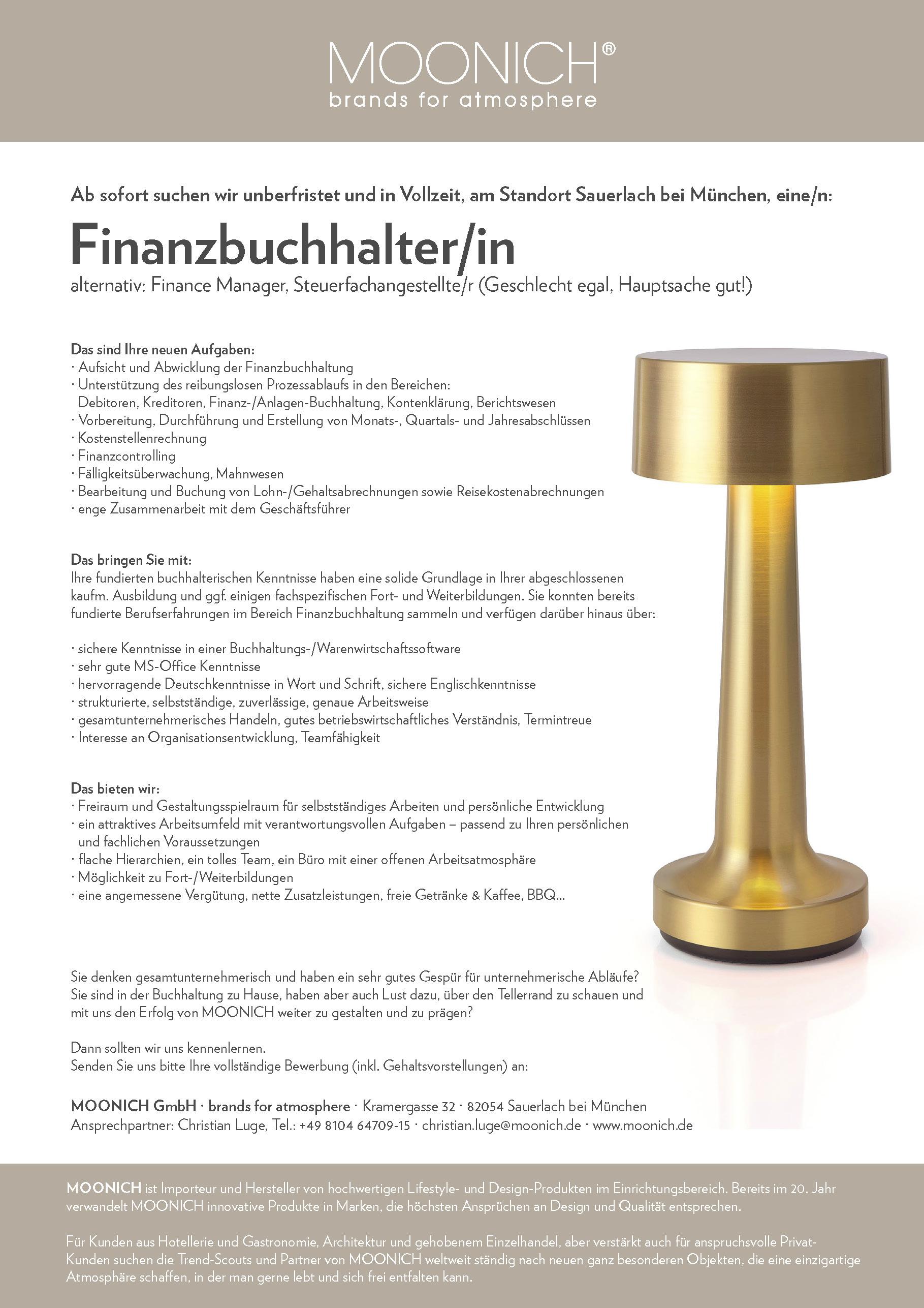 MOONICH Stellenausschreibung Finanzbuchhalter/in