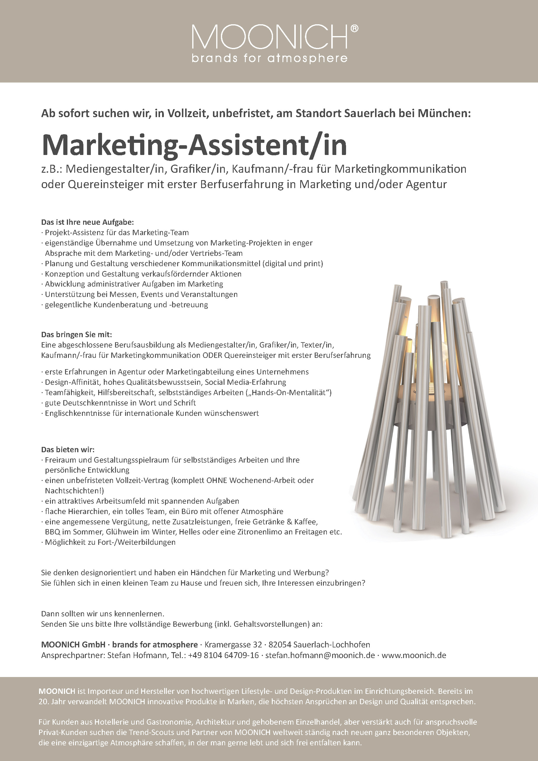 MOONICH Stellenausschreibung Marketing-Asisstent/in