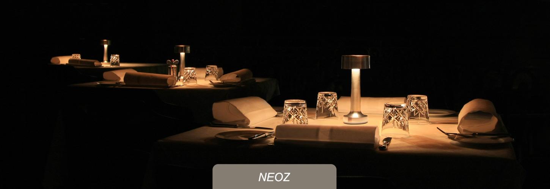 NEOZ kabellose Leuchten fuer Premium-Gastronomie, Hotels, Bars, Restaurants
