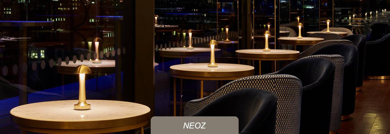 NEOZ kabellose Leuchten fuer Premium-Hotels, Bars, Restaurants
