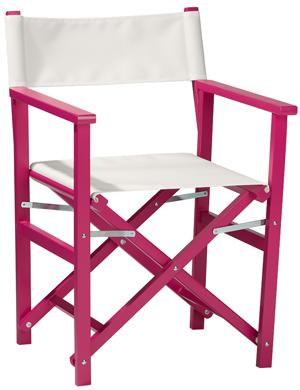 Regiestuhl Woody: Sale! Pink, Weiß, Detailfoto