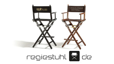 Logo regiestuhl.de: deckchairs, director's chairs with and without name, for private or companies